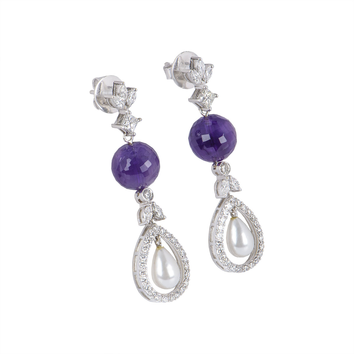 White Gold Diamond And Multi-Stone Earrings